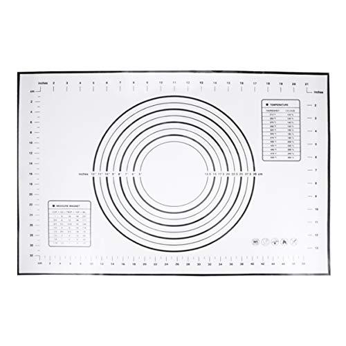 UPKOCH Silikonbakmatta med mått non-stick bakmatta för kavling pizzadeg fondant tårta bakmatta (60 x 40 cm svart)