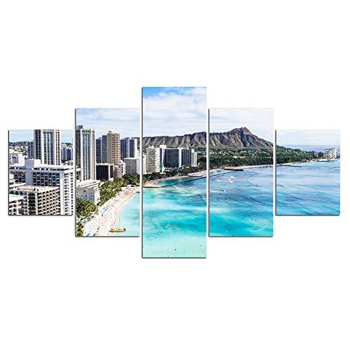 DGGDVP Cuadros enmarcados HD Impreso Playa Mar y Vista de la Ciudad Pintura en Lienzo Decoración del hogar Imagen de Pared Modular Tamaño 1 con Marco