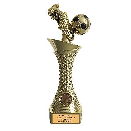 Larius Group Fußball Pokal mit Wunschtext Extra Groß (270mm, 430gr.) mit/ohne Wunschgravur, Trophäe Ehrenpreis Goldener Schuh 1 Platz (mit Wunschtext)