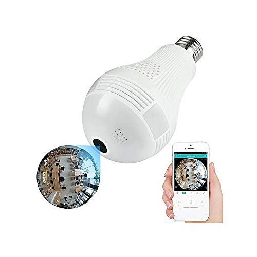 Wemake Bulb Shape 1.3MP 960p Fisheye 360° Panoramic Wireless WiFi IP CCTV Security Camera with Two Way Audio Chat & Night Vision (Micro SD Card Support)