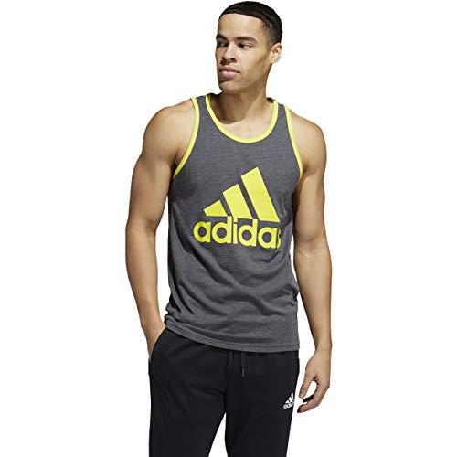 adidas Heathered - Camiseta de tirantes (talla mediana), color gris oscuro y amarillo