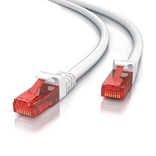 20m - CAT.6 Ethernet Gigabit LAN Netzwerkkabel RJ45-10 100 1000Mbit s - Patchkabel - UTP - kompatibel zu CAT.5 CAT.7 - Switch Router Modem Patchpannel Access Point - weiß
