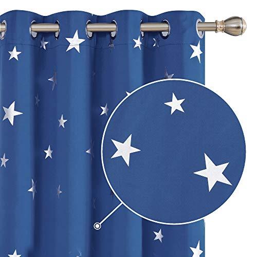 Deconovo Cortina Opaca para Habitación Matrimonio de Estrellas Plateadas Estilo Moderno Elegante con Ojales 2 Piezas 132 x 183 cm Azul Oscuro