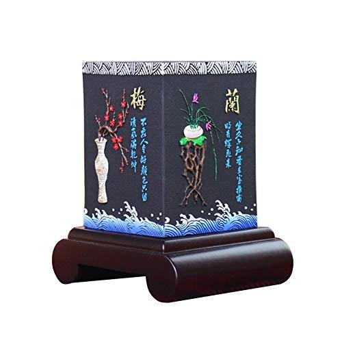 zyhzz Pen Houder, Houtskool Graveren Pen/Potlood Case 4 Zijkanten Zijn Pruim, Bamboe, Orchidee, Chrysant, 13 * 10.5 * 15cm