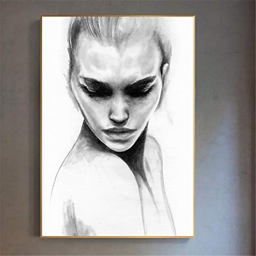 KELEQI Póster nórdico Obras de Arte Chica Simple Retrato en Blanco y Negro Imágenes Arte de la Pared Pintura en Lienzo para la Sala de Estar Decoración del hogar (70x90cm) Sin Marco