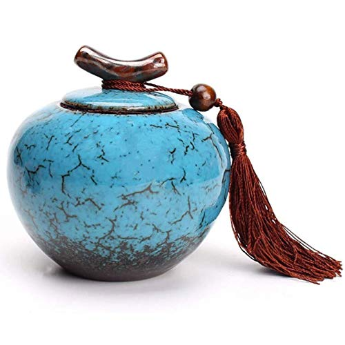 LILIS Urna funeraria,Urna Cenizas Cremación Mascotas Adultos,Pantalla Cerámica De URNAS En Casa/Oficina, 9X 9X 9 Cm, (Color : Blue)