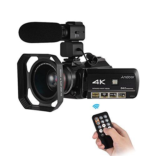 Digital Video Camera Camcorder,Andoer AC3 4K UHD 24MP DV Recorder 30X Zoom IR Night Vision 3.0