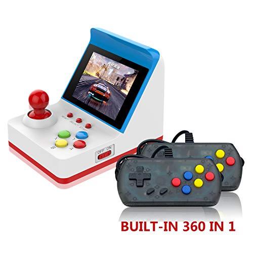 Videogioco Portatile , Retro Arcade FC con 2 PCS Joystick per due giocatori , Console Di Gioco sistema di intrattenimento con giochi classici da 360 pollici, regalo di compleanno per bambini (Rosso)