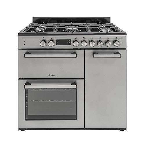 electriQ 90cm Dual Fuel Triple Cavity Range Cooker - Stainless Steel