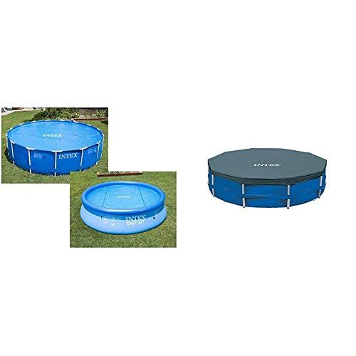 Intex 29021 - Cobertor Solar para Piscinas 305 cm de diámetro + 28030 - Cobertor Piscina metálica Metal & Prisma Frame 305 cm