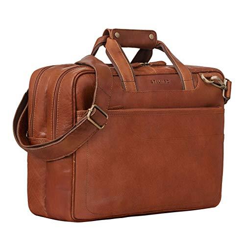 STILORD 'Astor' Grote Lerarenzak Leer voor Mannen Vrouwen Vintage Briefcase XL Zak Schoudertas voor Brede A4 Mappen Laptop Trolley Bevestigbaar, Kleur:maraska - bruin