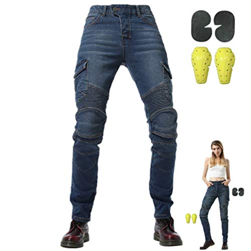 WCCI Damen Motorradhose Motorrad Jeans Biker Trousers Weiblich Motorrad Hose Fahrrad Riding Schutzhose,4 x Schutz ausrüstung (Blau, 29W)