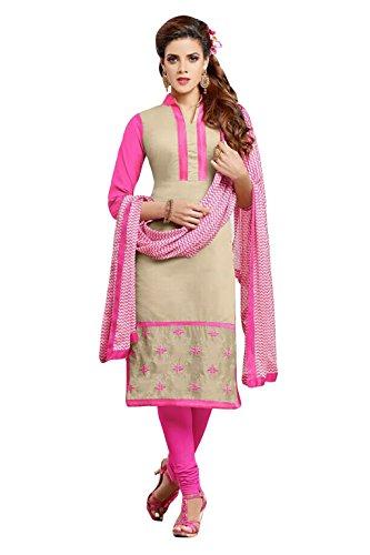 Nazaquat Pink Embroidered Cotton Unstitched Salwar Kameez
