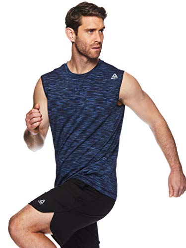 Reebok Men's Muscle Tank Top - Sleeveless Workout & Training Activewear Gym Shirt - Rise Navy,...