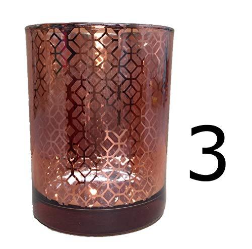 HouseVitamin Windlicht Teelicht Kerzenhalter Glas Bronze Kupfer innen verspiegelt Teelichthalter Ø: ca. 10 cm 12,5 cm hoch (3)