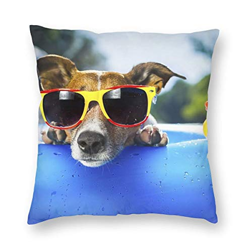 Green Haoke Decorative Cushion Covers Dog On Blue Air Mattress in Water Refreshing Square Throw Pillow Covers Pillowcases for Sofa Couch Living Room 18'x18'