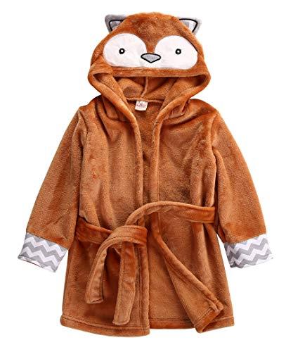 Albornoz Bata para Mujer Batas infantil lindo animal del niño de los niños del muchacho del bebé toalla de baño con capucha Wrap Albornoz de baño Manta Lanza pijama ( Color : Orange , Kid Size : 4T )