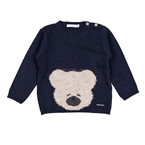 Nanan Jersey de Tricot Azul con Oso para Niños