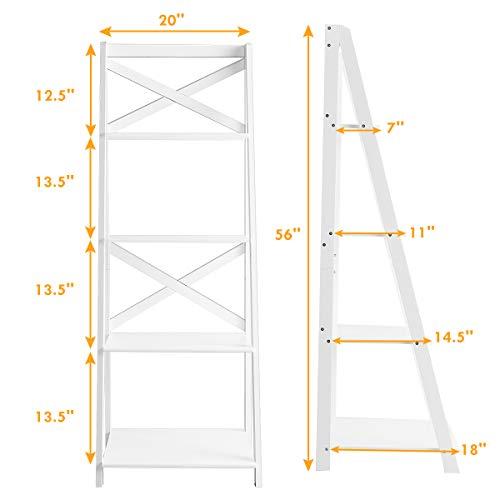 Tangkula 4-Tier Ladder Shelf Bookcase Leaning Free Standing Wooden Frame Decor Bookshelf Storage Flower Shelf Plant Display Shelf for Home Office (White, 1)