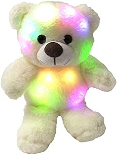 The Noodley Small Teddy Bear Stuffed Animal for Sleep Light-Up Toy Plushies Night Light for Kids, Toddlers, White 8 inch, Batteries Not Included