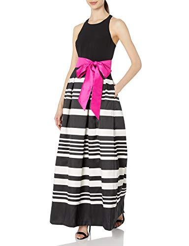 Eliza J womensEJ7M4474Ballgown with Stripe Skirt Sleeveless Dress - Black - 10