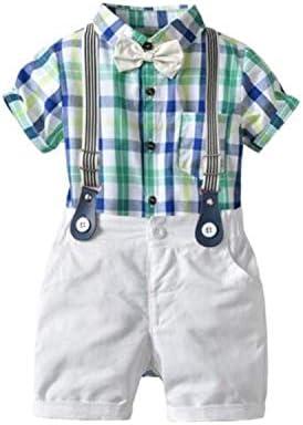 Jiangym Kids Clothing Summer Boys Plaid Short Sleeve Jumpsuits + Bib Shorts Set, Kid Size:100cm(Pink) Boys Clothing