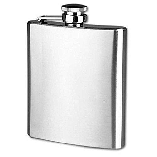OcioDual Petaca Acero Inoxidable 7 oz 200 ml 11 x 9 cm Tapon Rosca Hip Flask Stainless Steel Drink Whiskey Vodka Case Holder