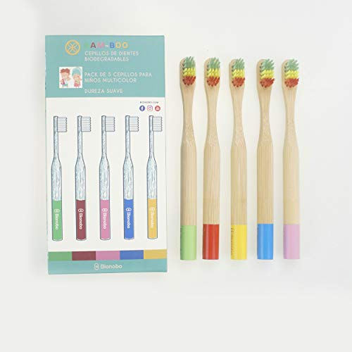 BAM-BOO PEQUES Super Suave | 5 pack | Cepillo de Dientes Infantil Premium Biodegradable y Ecológico | Hecho de Bambú | Eco-friendly, Vegano, Sin Quimicos ni Plasticos Tóxicos |