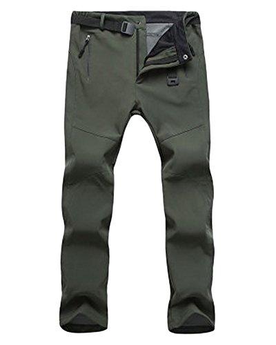 ZongSen Grande Taille Homme Femme Pantalon de Ski Épaississement Coupe-Vent Imperméable Résistant à l'usure Outdoor Camping Randonnée Trekking Pantalons Vert armée Femmes XL