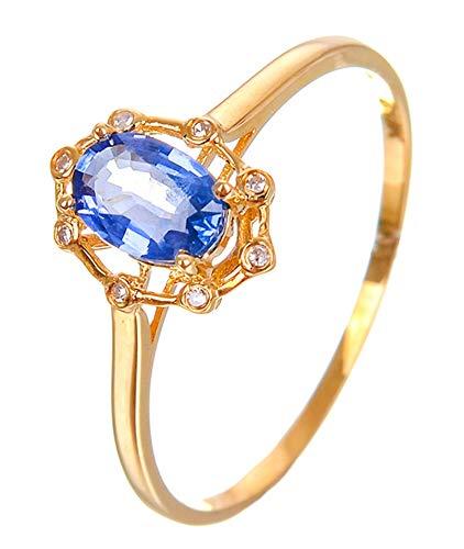 AtHomeShop Mujer Oro de 18 quilates (750). talla ovalada azul zafiro