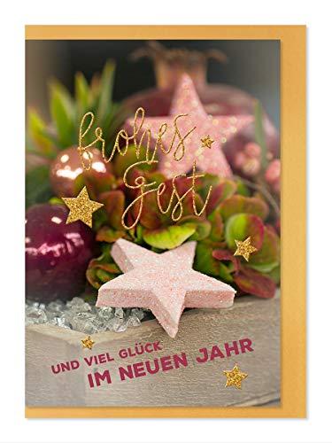 """Weihnachtskarte""""Goldenes Fest"""" Motiv- Rosa Sterne/Frohes Fest"""