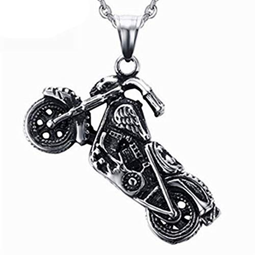 HXSZWJJ Collar con colgante de motocicleta punk para hombre y hombre, joyería de motorista, regalo para niño (color A: A)