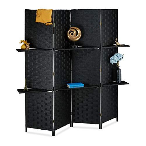 Relaxdays Paravent 4-teilig, Faltbarer Raumtrenner, Sichtschutz, 2 Ablagen, Papierseil, HBT 180 x 170 x 39 cm, schwarz, 1 Stück