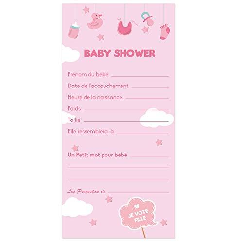 Cartes de Pronostics ou Cartes de Jeu pour Baby Shower Fille, Baby Shower garçon ou Baby Shower Mixte (Pronostics Fille)