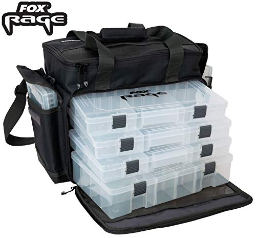 Fox Rage Stacker large 45x24x26cm - Angeltasche für Kunstköder, Tackletasche für Gummifische & Wobbler, Tasche zum Spinnangeln