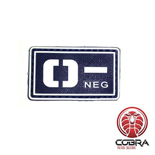 Cobra Tactical Solutions Blutgruppe O- NEG Military PVC Patch mit Klettverschluss für Airsoft Cosplay Paintball für Taktische Kleidung Rucksack (Schwarz/Weiß, O-)