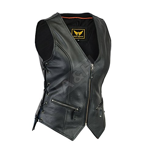 A&H Apparel Women Motorcycle Biker Classic Vest Genuine Cowhide Leather Vest With Gun Pocket (X-Large)