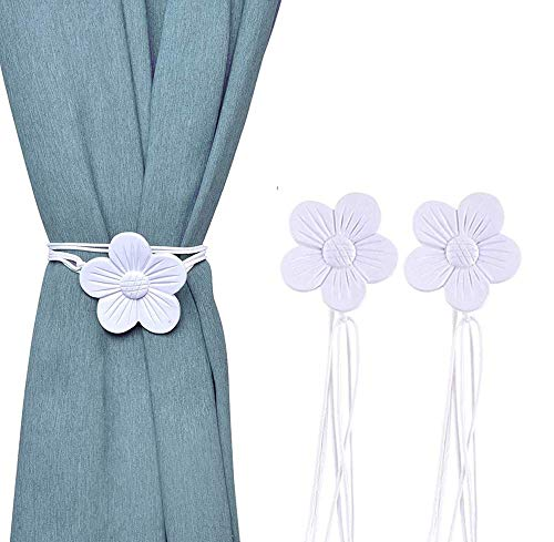 Stay Smart Way Vintage Magnetic Curtain Tiebacks - Resin Flower Magnetic Curtain Ties for Window Drapery, White Gray Tie Backs for Curtains, Decorative Buckle Holder for Home, Bedroom, Office (2 Pack)