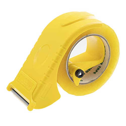 Prosun 2 Inch Packing Tape Gun Dispenser, Width-Adjustable Box Sealer, Lightweight Ergonomic Industrial Heavy Duty Tape Cutter for Carton, Packaging and Box Sealing, Yellow