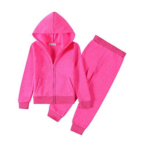 Monvecle Toddler to Big Girls Ploar Fleece Full Zip Hoodie Tracksuit Sweatshirt Top + Sweatpant Jogger 2pcs Sets Neon Rose 11-12 Years