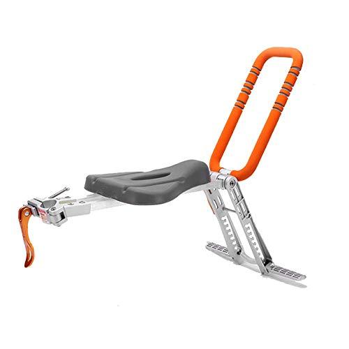 Leilims Faltbare Kinderfahrradsitz mit Handlauf tragbaren Kinderfahrrad Front-Gepäckträger for City Geteilt/Fitness/Faltbare/Cruiser Bikes (Color : Orange)