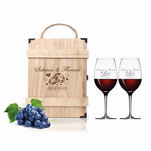 FORYOU24 2 Leonardo Weingläser mit Holz Geschenkbox und Gravur Ringe Geschenkidee zur Hochzeit oder Verlobung Wein-Gläser graviert