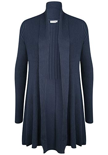 Fransa Zubasic 61 - Chaqueta de punto para mujer, corte ajustado, color liso Black Iris (60410). XL