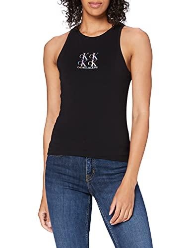 Calvin Klein Jeans Shine Logo Racer Back Top Cuello extendido, CK Negro, XS para Mujer