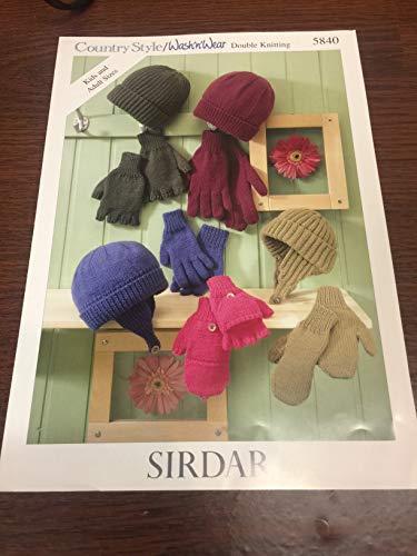 Sirdar Country Style DK Strickmuster 5840 für Mützen und Handschuhe, Rundstrick