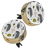 Indimization ambientador de ventilación de Coche Seta Animal Erizo Clip de ventilación Dorado Metal Cristal Cristal Pantalla 3D +4 Almohadillas de Recarga (Inodoro) 2 Piezas 33.8mmX46.4mm