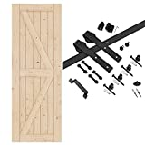 EaseLife 30in x 84in Sliding Barn Door with 5FT Track Hardware & Handle Included,DIY Assemblely,Easy Install,K-Frame