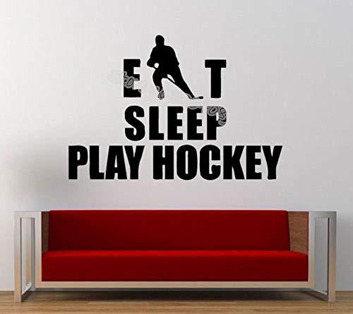 Eet Slaap Spelen Hockey Woordenschat Vinyl Muurstickers Hockey Speler Sport Muurstickers jongen Kamer Decoratie Gym Slaapzaal Mural EA972 @ Grey_56x38cm