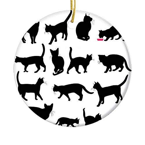9 shbixmashdho Christmas Ornaments|Black Cat Silhouettes in Different Poses Domestic Pets Kitty Paws Tail and WhiskersCeramic Ornament|Holiday Xmas Tree Decorations Ornament|Cute Ceramic 2.85in