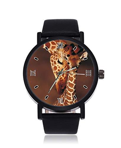 Kinder-Giraffen-Armbanduhr, analog, Quarz, schwarzes Stahl-Lederarmband, Armbanduhr für Damen und Herren